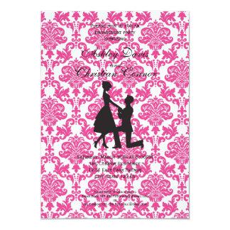Invitaciones del damasco de las rosas fuertes invitación 12,7 x 17,8 cm