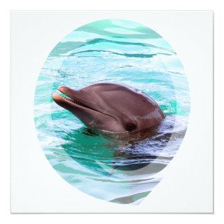 Invitaciones del diseño del delfín invitación 13,3 cm x 13,3cm