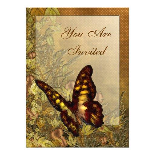 Invitaciones del ejemplo de la mariposa del estilo anuncio