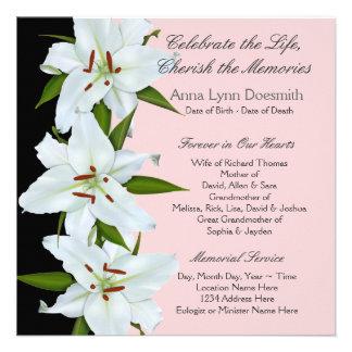 Invitaciones del entierro del lirio blanco invitación personalizada