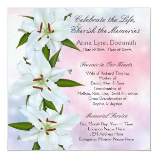 Invitaciones del entierro del lirio blanco comunicados personalizados
