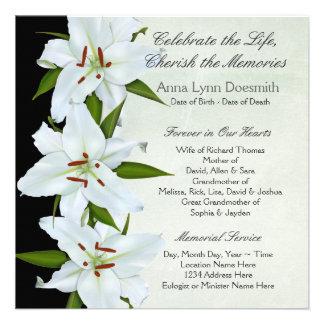 Invitaciones del entierro del lirio blanco comunicado personal