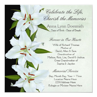 Invitaciones del entierro del lirio blanco invitación 13,3 cm x 13,3cm