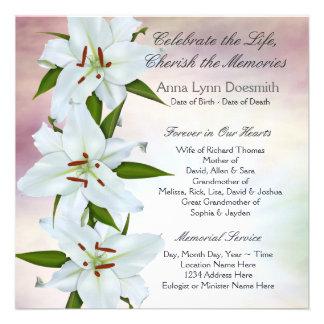 Invitaciones del entierro del lirio blanco invitacion personal