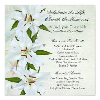 Invitaciones del entierro del lirio blanco