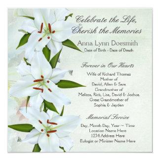 Invitaciones del entierro del lirio blanco anuncios personalizados