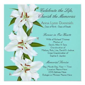 Invitaciones del entierro del lirio blanco comunicados
