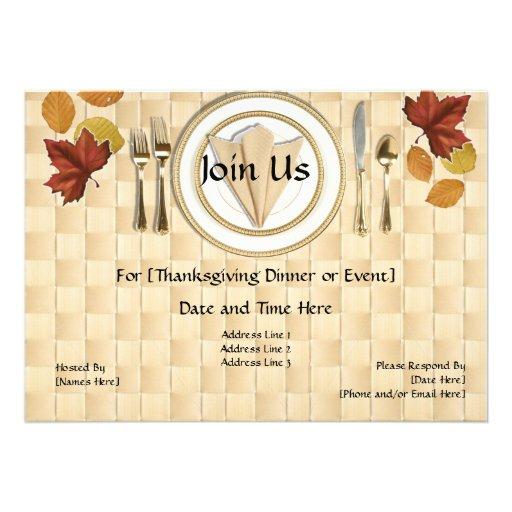 Invitaciones del fiesta de cena de la acción de gr invitaciones personalizada