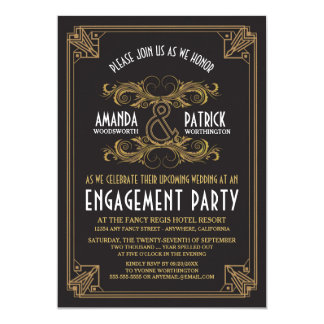 Invitaciones del fiesta de compromiso del oro del