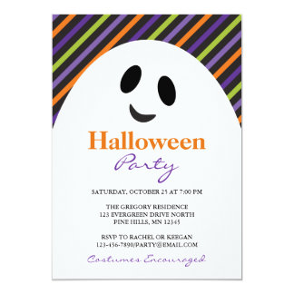 Invitaciones del fiesta de Halloween de las rayas