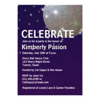 Invitaciones del fiesta de la bola de discoteca comunicados personalizados