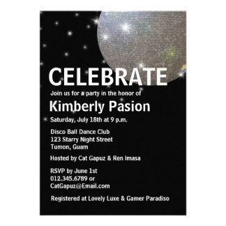 Invitaciones del fiesta de la bola de discoteca comunicados personales