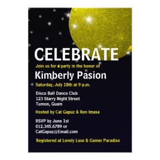 Invitaciones del fiesta de la bola de discoteca comunicado personalizado
