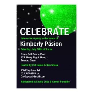 Invitaciones del fiesta de la bola de discoteca anuncio personalizado