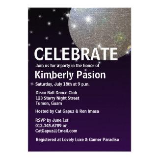 Invitaciones del fiesta de la bola de discoteca anuncios personalizados