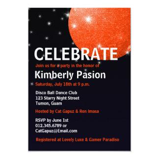 Invitaciones del fiesta de la bola de discoteca invitación 12,7 x 17,8 cm
