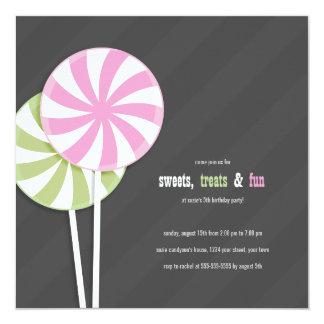 Invitaciones del fiesta de los Lollipops del Invitación 13,3 Cm X 13,3cm