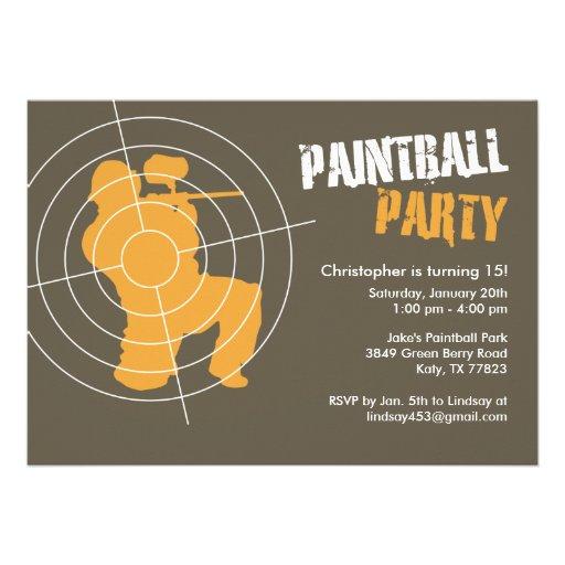 Invitaciones del fiesta de Paintball Comunicados Personalizados