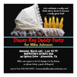 Invitaciones del fiesta del barrilete del pañal - invitación 13,3 cm x 13,3cm