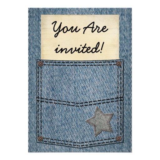 Invitaciones del fiesta del bolsillo de los vaquer invitacion personalizada