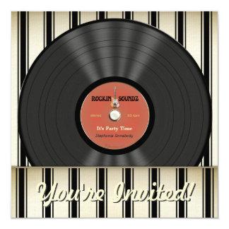 Invitaciones del fiesta del disco de vinilo de la invitación 13,3 cm x 13,3cm