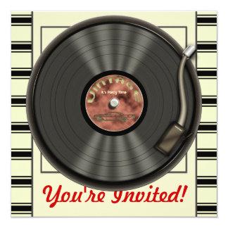 Invitaciones del fiesta del disco de vinilo del invitación 13,3 cm x 13,3cm