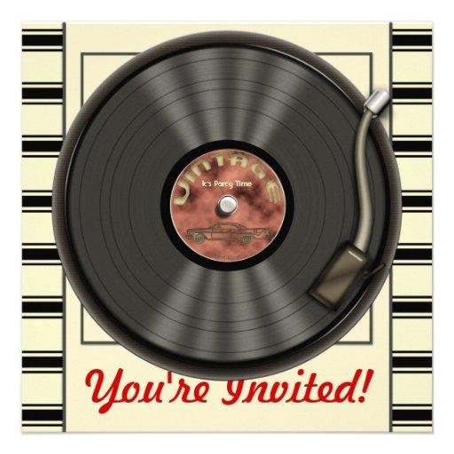 Invitaciones del fiesta del disco de vinilo del vi anuncio