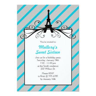 Invitaciones del fiesta del dulce 16 de París en Invitación 12,7 X 17,8 Cm