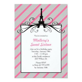Invitaciones del fiesta del dulce 16 de París Invitación 12,7 X 17,8 Cm