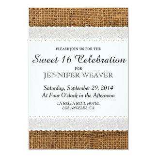 Invitaciones del fiesta del dulce 16 del yute y invitación 8,9 x 12,7 cm