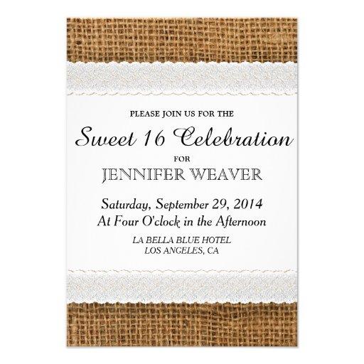 Invitaciones del fiesta del dulce 16 del yute y de invitacion personalizada