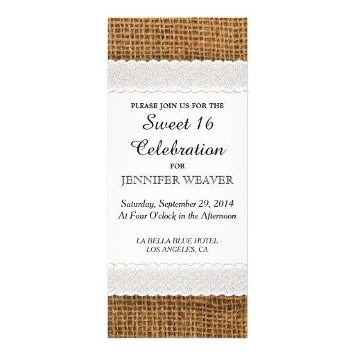 Invitaciones del fiesta del dulce 16 del yute y de comunicados