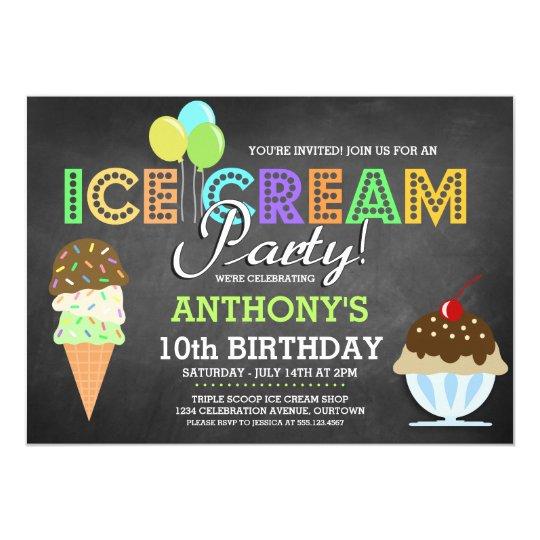 Invitaciones del fiesta del helado