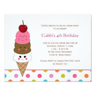 Invitaciones del fiesta del helado de Kawaii Invitación 10,8 X 13,9 Cm