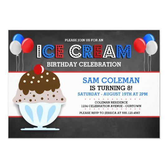 Invitaciones del fiesta del helado invitación 12,7 x 17,8 cm
