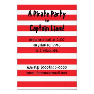 """Invitaciones del fiesta del """"pirata"""" invitación 8,9 x 12,7 cm"""
