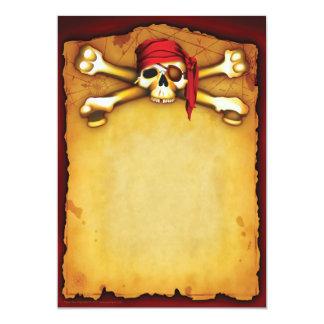 Invitaciones del fiesta del pirata invitación 12,7 x 17,8 cm