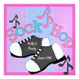 Invitaciones del fiesta del salto del calcetín de invitación 13,3 cm x 13,3cm