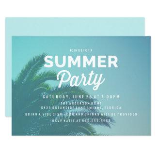 Invitaciones del fiesta del verano de la palmera invitación 12,7 x 17,8 cm