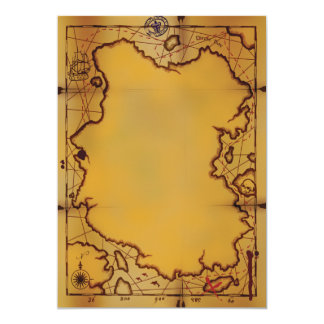 Invitaciones del mapa del tesoro del pirata invitación 12,7 x 17,8 cm