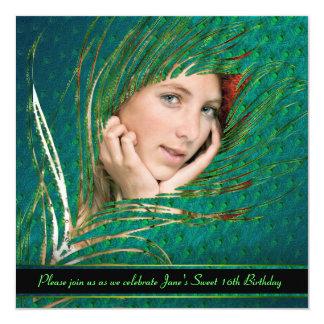 Invitaciones del marco de la foto de la pluma del invitación 13,3 cm x 13,3cm