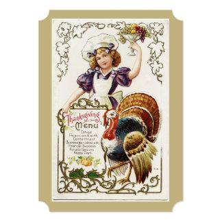 Invitaciones del menú y del chica de la acción de invitación 12,7 x 17,8 cm