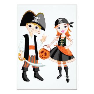Invitaciones del muchacho y del chica del pirata invitación 8,9 x 12,7 cm