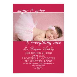 Invitaciones del nacimiento de la foto del azúcar invitación 13,9 x 19,0 cm
