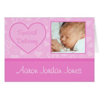 Invitaciones del nacimiento de la niña de la tarjeta de felicitación