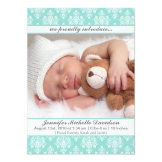 Invitaciones del nacimiento de la niña del damasco invitación 13,9 x 19,0 cm