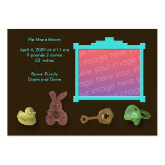 Invitaciones del nacimiento del marco de la foto tarjetas de visita grandes