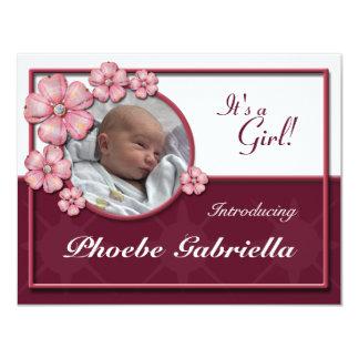 Invitaciones del nacimiento del rosa de la gema de invitación 10,8 x 13,9 cm