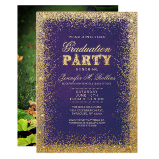 Invitaciones del oro y de la fiesta de graduación