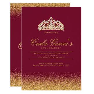 Invitaciones del oro y del Sparling de Quinceanera Invitación 12,7 X 17,8 Cm
